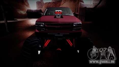 2003 Chevrolet Suburban Monster Truck für GTA San Andreas obere Ansicht