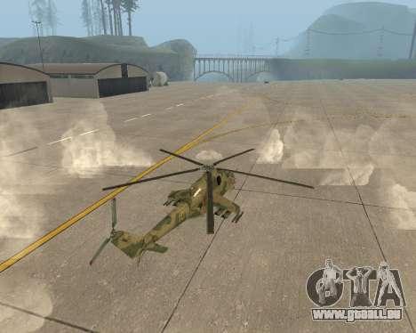 Un Mi-24 Au Crocodile pour GTA San Andreas sur la vue arrière gauche