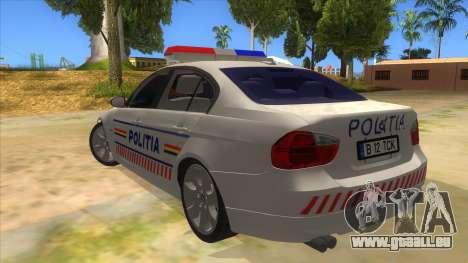 BMW 330XD Romania Police pour GTA San Andreas sur la vue arrière gauche