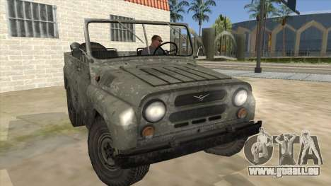 UAZ-469 Old Green Rust pour GTA San Andreas vue arrière