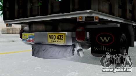 Jeep con Estacas Stylo Colombia für GTA San Andreas Rückansicht