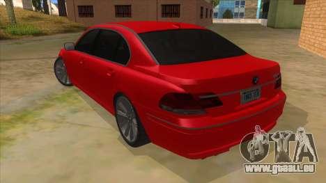 BMW 760 LI pour GTA San Andreas sur la vue arrière gauche