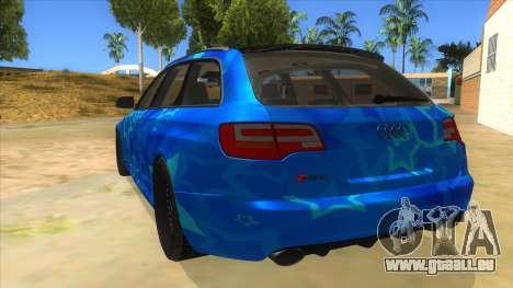 Audi RS6 Blue Star Badgged für GTA San Andreas zurück linke Ansicht