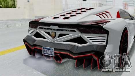 GTA 5 Zentorno Tron pour GTA San Andreas vue arrière