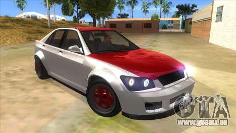 GTA V Karin Sultan RS 4 Door für GTA San Andreas Rückansicht