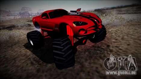 Dodge Viper SRT10 Monster Truck pour GTA San Andreas sur la vue arrière gauche