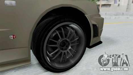 Nissan Skyline GT-R R34 2002 F&F4 Damage Parts für GTA San Andreas zurück linke Ansicht