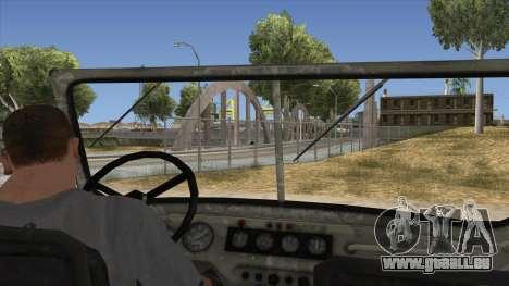 UAZ-469 Old Green Rust pour GTA San Andreas vue intérieure