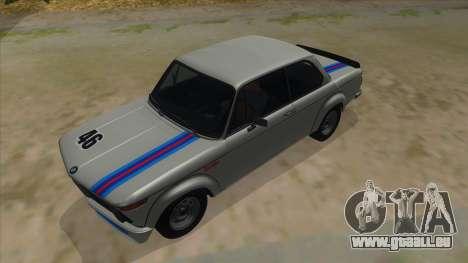 1974 BMW 2002 turbo v1.1 pour GTA San Andreas vue de dessus