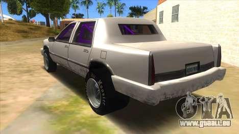 Stretch Sedan Drag pour GTA San Andreas sur la vue arrière gauche