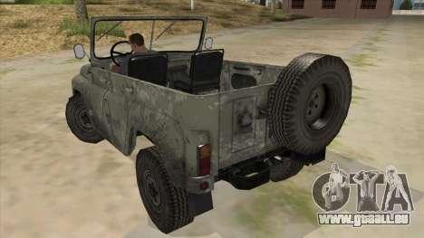 UAZ-469 Old Green Rust pour GTA San Andreas sur la vue arrière gauche