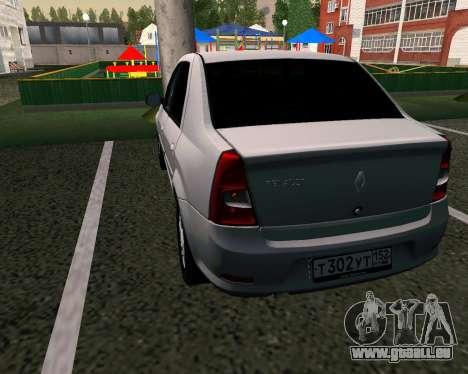 Dacia Logan pour GTA San Andreas sur la vue arrière gauche