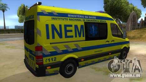 Mercedes-Benz Sprinter INEM Ambulance pour GTA San Andreas vue de droite