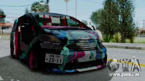 Toyota Vellfire Miku Pocky Exhaust v2 für GTA San Andreas