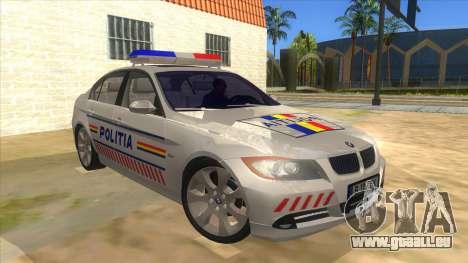 BMW 330XD Romania Police pour GTA San Andreas vue arrière