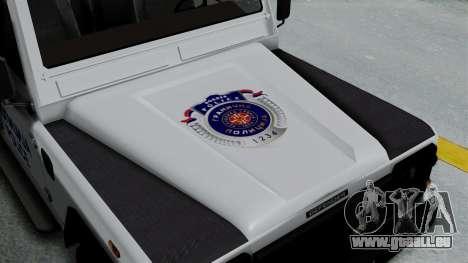 Land Rover Defender Serbian Border Police für GTA San Andreas Rückansicht