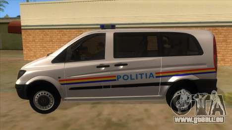 Mercedes Benz Vito Romania Police für GTA San Andreas linke Ansicht