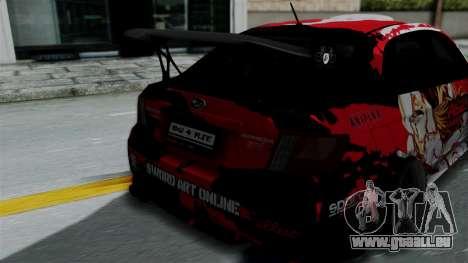 Subaru Impreza WRX STI 2010 Itasha Asuna (SAO) pour GTA San Andreas vue arrière