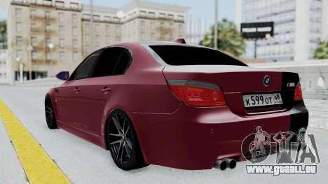 BMW M5 E60 pour GTA San Andreas laissé vue