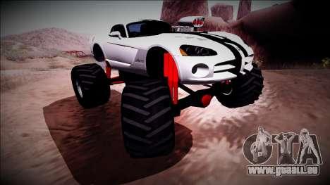 Dodge Viper SRT10 Monster Truck pour GTA San Andreas vue intérieure