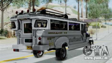 Jeepney Philippines pour GTA San Andreas laissé vue