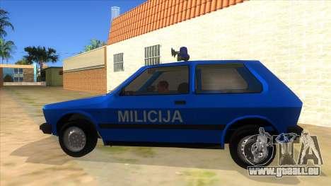 Yugo Koral Police pour GTA San Andreas laissé vue