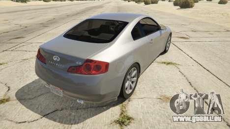 GTA 5 Infiniti G35 arrière vue latérale gauche