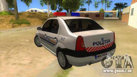 Dacia Logan Romania Police für GTA San Andreas zurück linke Ansicht