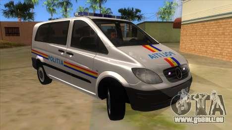 Mercedes Benz Vito Romania Police für GTA San Andreas Rückansicht