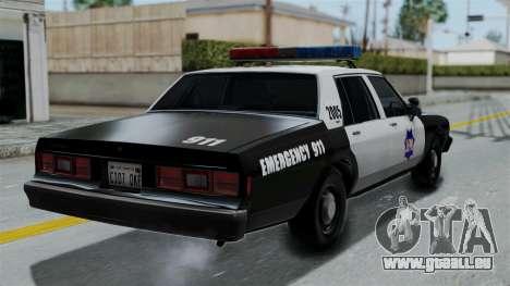 Chevrolet Impala 1985 SFPD pour GTA San Andreas laissé vue