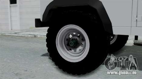 Land Rover Defender Serbian Border Police für GTA San Andreas zurück linke Ansicht