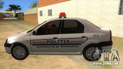 Dacia Logan Romania Police pour GTA San Andreas laissé vue
