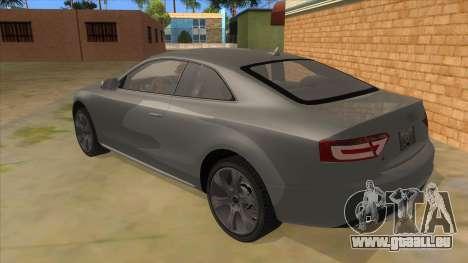 Audi S5 Sedan V8 pour GTA San Andreas sur la vue arrière gauche
