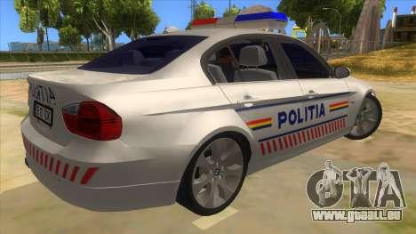 BMW 330XD Romania Police pour GTA San Andreas vue de droite