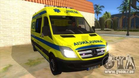 Mercedes-Benz Sprinter INEM Ambulance pour GTA San Andreas vue arrière