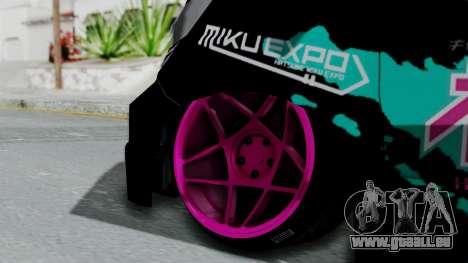 Toyota Vellfire Miku Pocky Exhaust v2 pour GTA San Andreas sur la vue arrière gauche