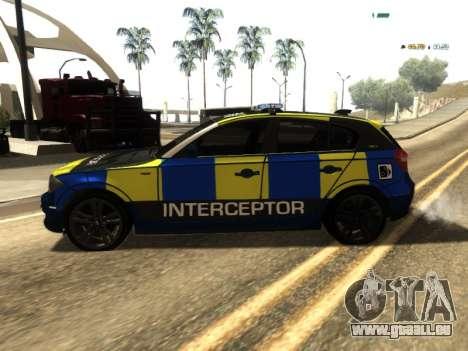 BMW 120i SE UK Police ANPR Interceptor pour GTA San Andreas laissé vue