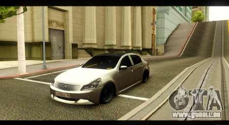 Infiniti G37 pour GTA San Andreas vue intérieure