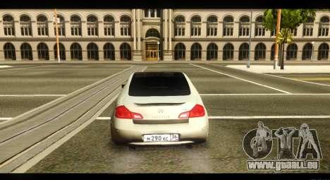 Infiniti G37 pour GTA San Andreas vue de droite