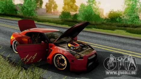 Nissan GTR-R35 Liberty Walk LB performance pour GTA San Andreas sur la vue arrière gauche