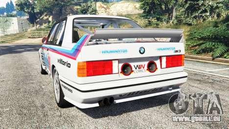 GTA 5 BMW M3 (E30) 1991 v1.3 arrière vue latérale gauche