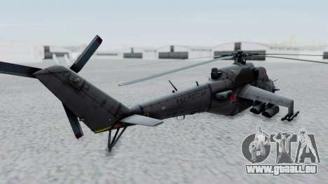 Mi-24V Russian Air Force 39 pour GTA San Andreas sur la vue arrière gauche
