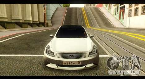 Infiniti G37 pour GTA San Andreas vue arrière