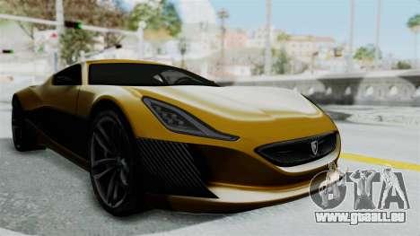 Rimac Concept One für GTA San Andreas rechten Ansicht