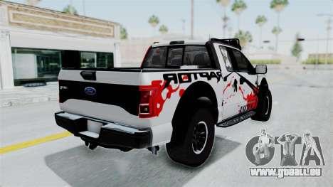 Ford F-150 Raptor 2015 pour GTA San Andreas laissé vue