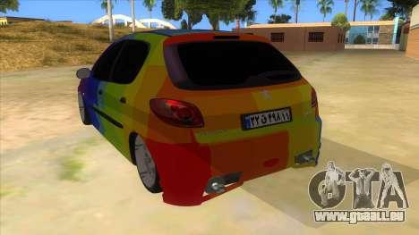 Iranian Peugeot 206 Sport pour GTA San Andreas sur la vue arrière gauche