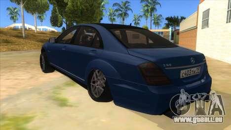 Mercedes-Benz S65 Rus Stance pour GTA San Andreas sur la vue arrière gauche