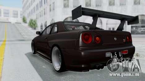 Nissan Skyline R34 GTR 2002 V-Spec II S-Tune pour GTA San Andreas laissé vue