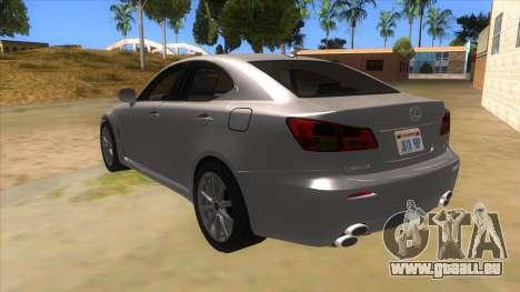 Lexus ISF für GTA San Andreas zurück linke Ansicht