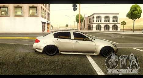 Infiniti G37 pour GTA San Andreas laissé vue